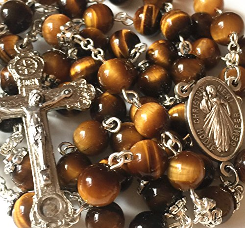 (elegantmedical Handmade Tiger Eye Rosary Beads Italy Relic Cross Crucifix Catholic Necklace Gift Box)