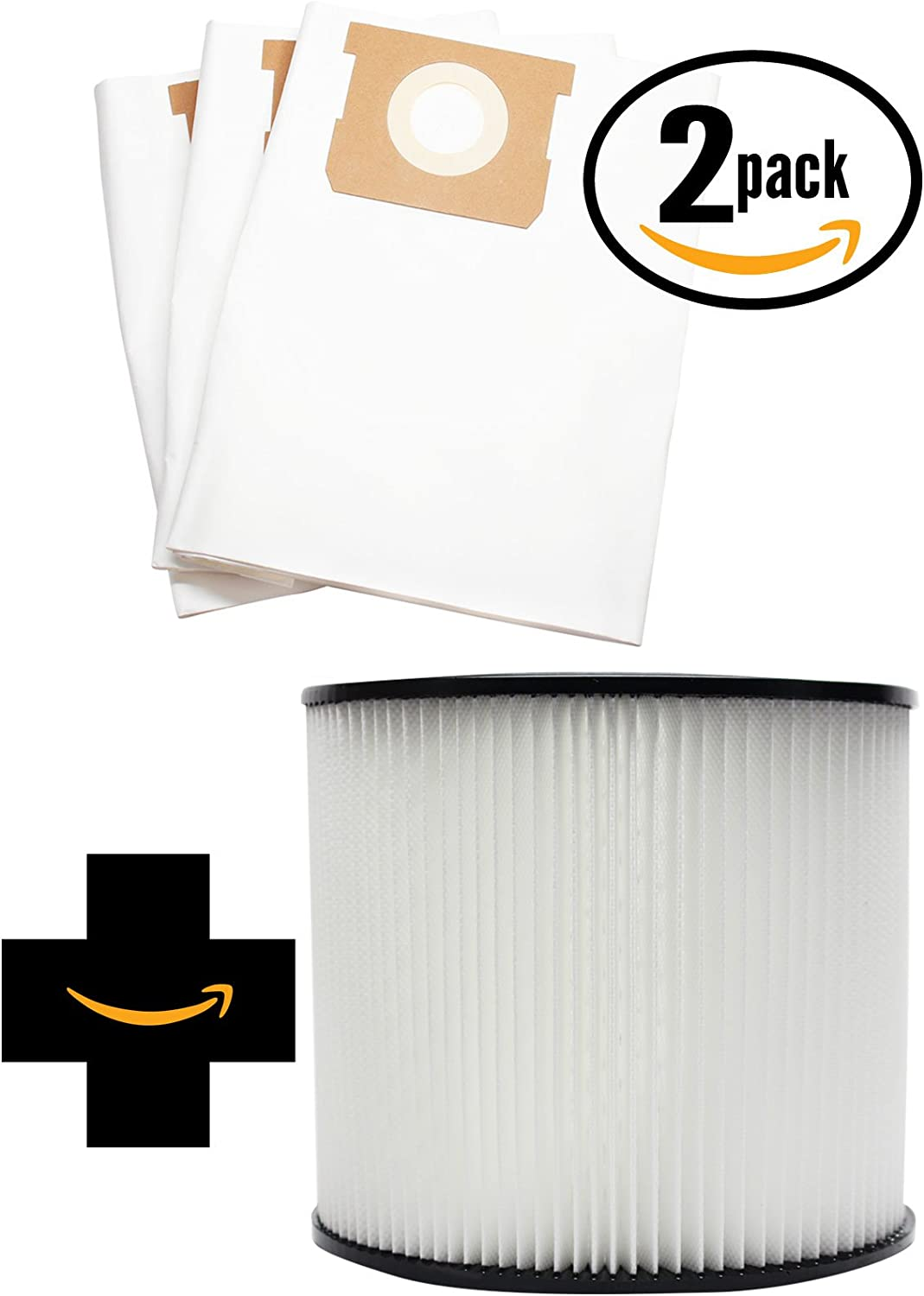 6 Replacement 90661 Vacuum Bags & 90304 Filter for Shop-Vac - Compatible with Shop-Vac CH87-650C, Shop-Vac 587-34-00, Shop-Vac 596-07-00, Shop-Vac Heavy Duty Portable CH87-650C, Shop-Vac Heavy Duty Portable 587-34-00, Shop-Vac 86EM350, Shop-Vac 586-73-00, Shop-Vac 12B300A, Shop-Vac 12B225A