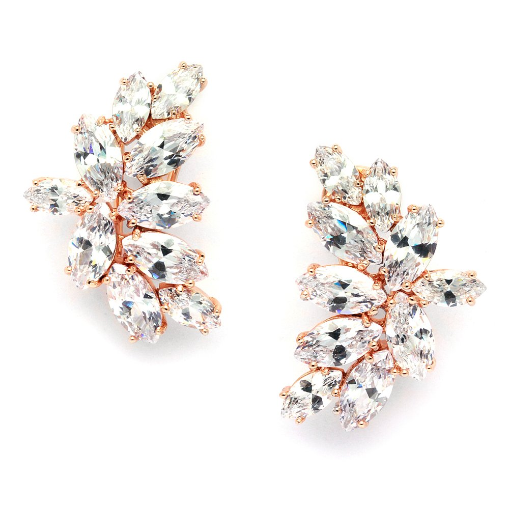 Mariell Blush Rose Gold CZ Earrings with Marquis-Cut Clusters - Bridal, Wedding & Mother of Bride Glamour by Mariell