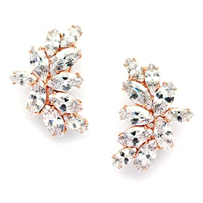 d435299d1 Amazon.com: Mariell Blush Rose Gold CZ Earrings with Marquis-Cut Clusters -  Bridal, Wedding & Mother of Bride Glamour: Jewelry