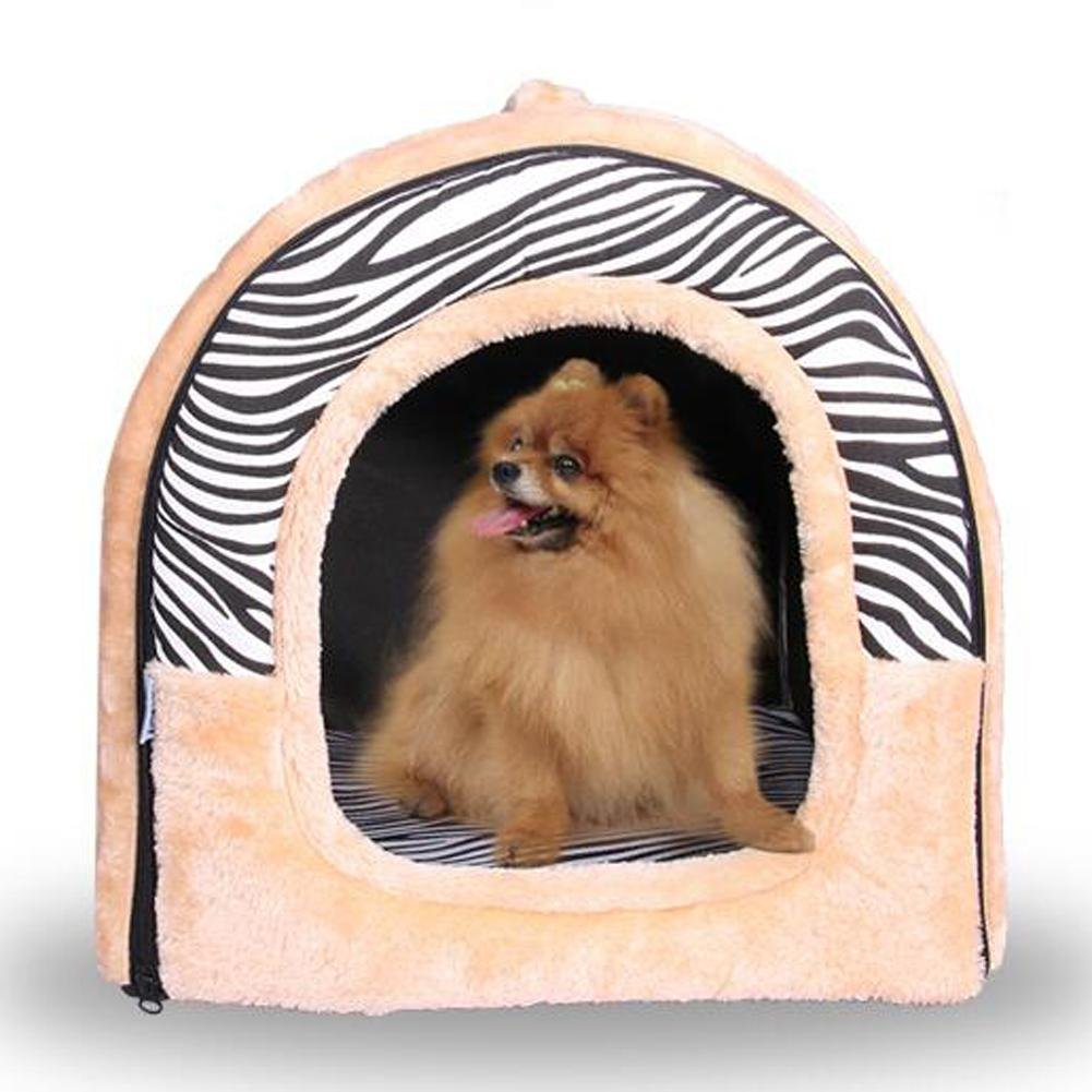JiaYue Productos para mascotas Forma Curva Plegable Perro Cama Impermeable Cálida Cremallera Fácil de Desmontar, Zebra Stripes, L: Amazon.es: Productos para ...