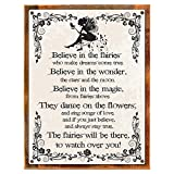 Wood-Framed Believe in the Fairies Metal Sign, Vintage Rules of Fairy Magic, Nursery or C… on reclaimed, rustic wood Review