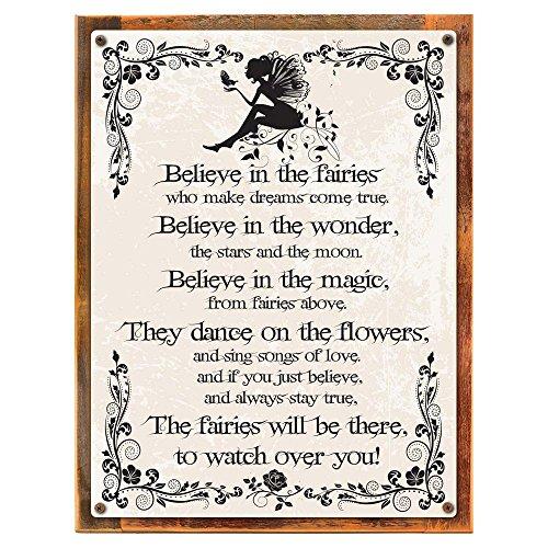 Wood-Framed Believe in the Fairies Metal Sign, Vintage Rules of Fairy Magic, Nursery or C... on reclaimed, rustic wood