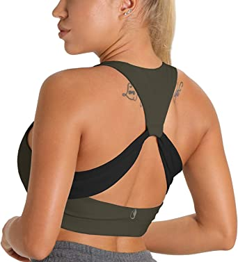 icyzone Padded Sports Bra for Women Athletic Running Yoga Bra Workout Crop Tank Top Gym Shirts