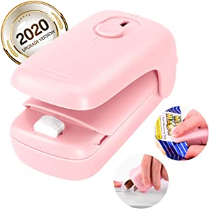 Mini Portable Sealer, Bag Heat Sealer, 2 in 1 Food Sealer and Cutter, Handheld Vacuum Sealer Machines, Quick Seal for Plastic Bags Chips Slice Snack Cookies Storage and Fresh, No need Clips (Pink)