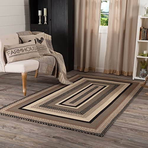 VHC Brands Sawyer Mill Jute Rectangular Area Rug Farmhouse Country Style Floor Mat Non Skid Pad 60×96