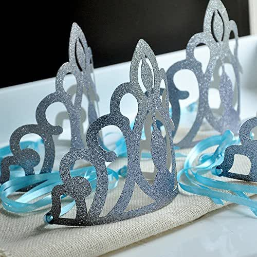 Elsa Crowns. 5CT Frozen Party Favors. Glitter Silver and Baby Blue Frozen Birthday Party Decorations.