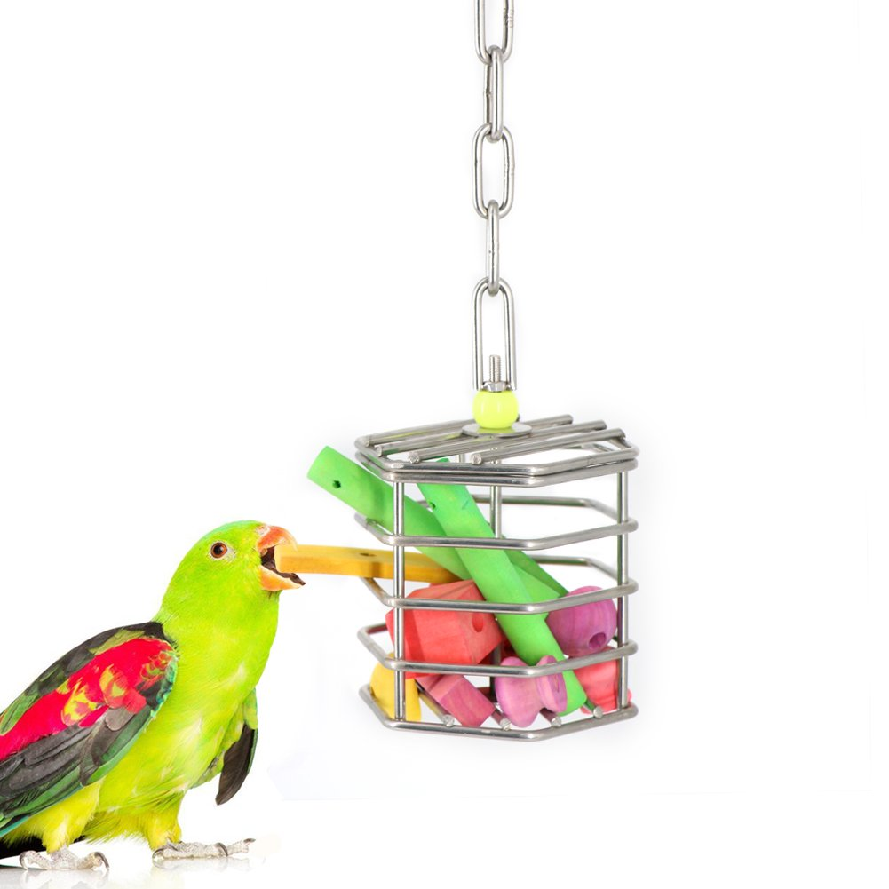 Parrot Foraging Feeder with Block for Parrot Hamster Small Pet, Hanging Stainless Steel Cage Design by Mokook