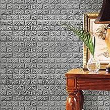 BBire DIY Wall Stickers New PE Foam 3D Wallpaper Wall Decor Embossed Brick Stone (gray)