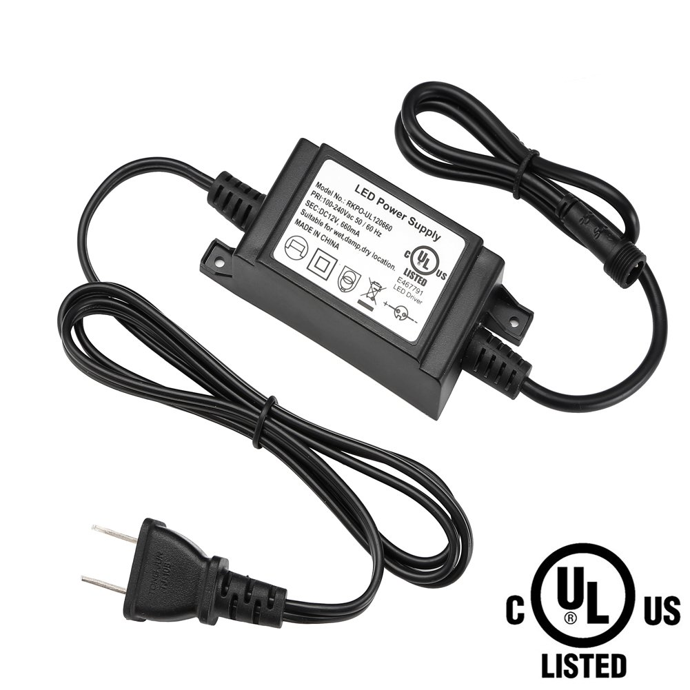FVTLED Power Adapter, Transformer, Power Supply UL Listed UL8750 DC 12V 12W US Plug for LED Deck Lights Kit