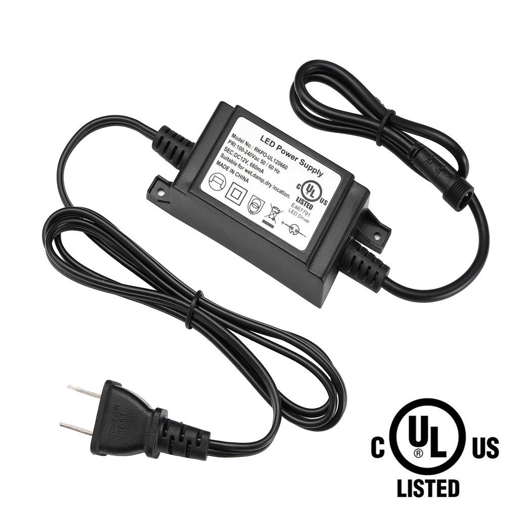 FVTLED Power Adapter, Transformer, Power Supply UL Listed UL8750 DC 12V 8W US Plug for LED Deck Lights Kit