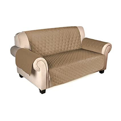 FUDALI Sofa Saver Sofa Cover Waterproof Anti Slip (Beige) (2 Seats)