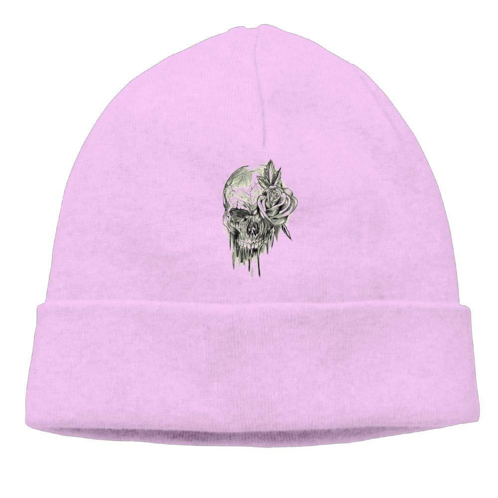 Oopp Jfhg Skull Rose Beanie Knit Hats Skull Caps Unisex