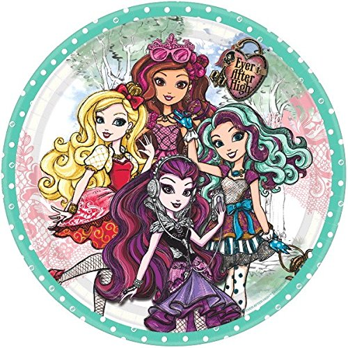 (Fabulous Ever After High Birthday Party Round Luncheon Plates, Green, Paper, 9