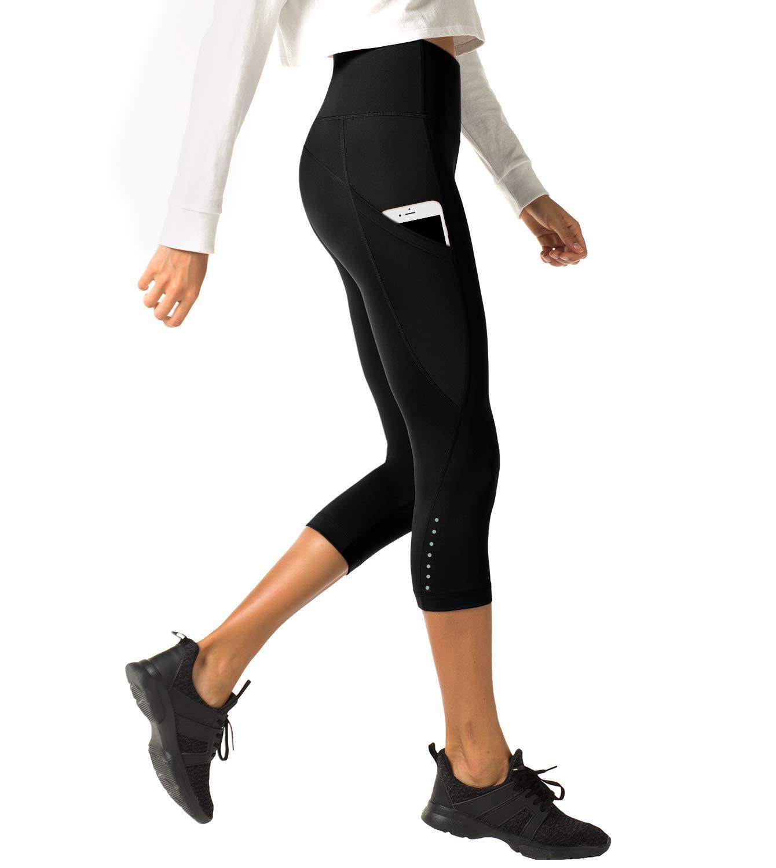 48b47a1c02945 LAPASA Legging avec Poches Capri Pantacourt de Sport Femme Coupe Genoux  Amincissant - Yoga Fitness