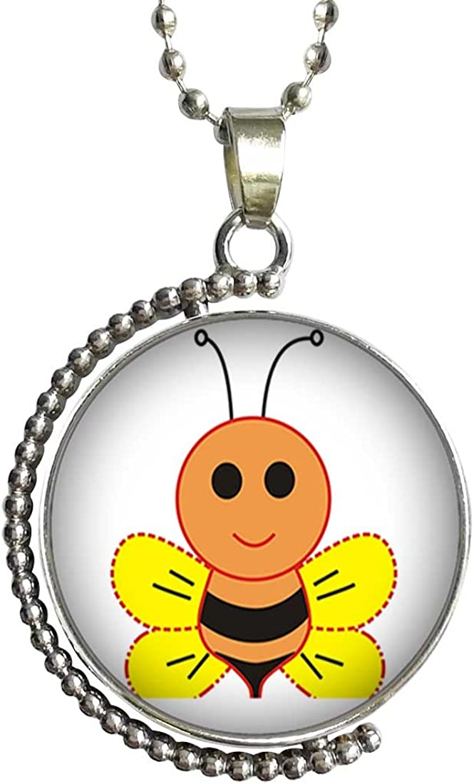 GiftJewelryShop Cartoon Honeybee Glass Cabochon Rotatable Lucky Pendant Necklace