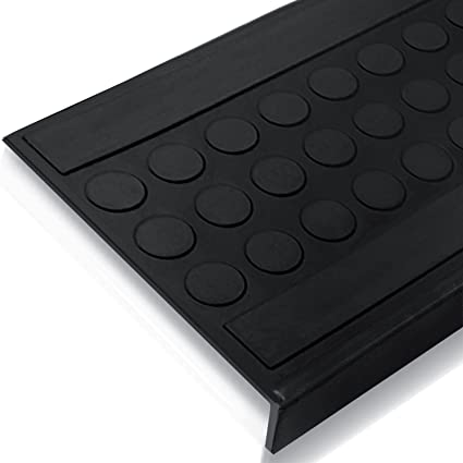 Indoor U0026 Outdoor Bullnose Rubber Non Slip Stair Treads, 29.5u0026quot; X  10u0026quot;