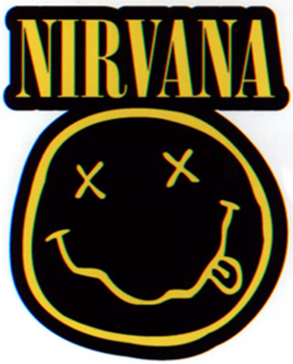 ETIQUETA Officially Oficialmente Licensed Autorizado Classic Rock Artwork ilustraciones 3.25 x 3.6 NIRVANA Smiley Logo STICKER Long Lasting duradera Die-Cut Sticker Etiqueta DECAL CALCOMANIA