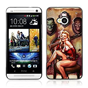 Colorful Printed Hard Protective Back Case Cover Shell Skin for HTC One (M7) ( Cool Vintage Pin Up )