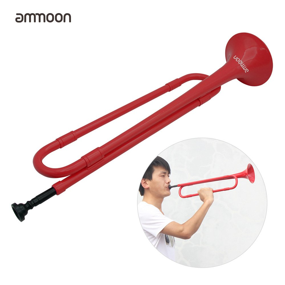 ammoon B Flat Bugle Cavalry Trumpet Environmentally Friendly Plastic with Mouthpiece for Band School Student