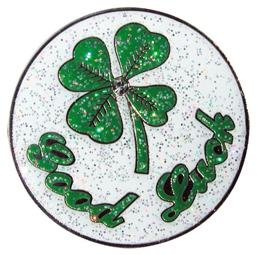 Navika Good Luck 4-Leaf Clover Glitzy Ball Marker with Hat Clip