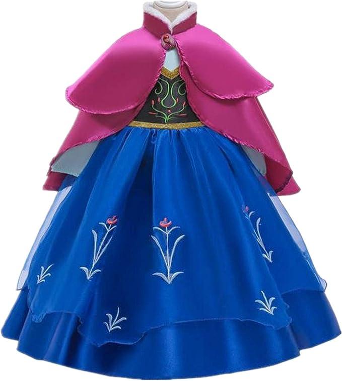 Fanessy Anna Disfraz Chica Azul Manga Larga Bordado Rosa Doble ...