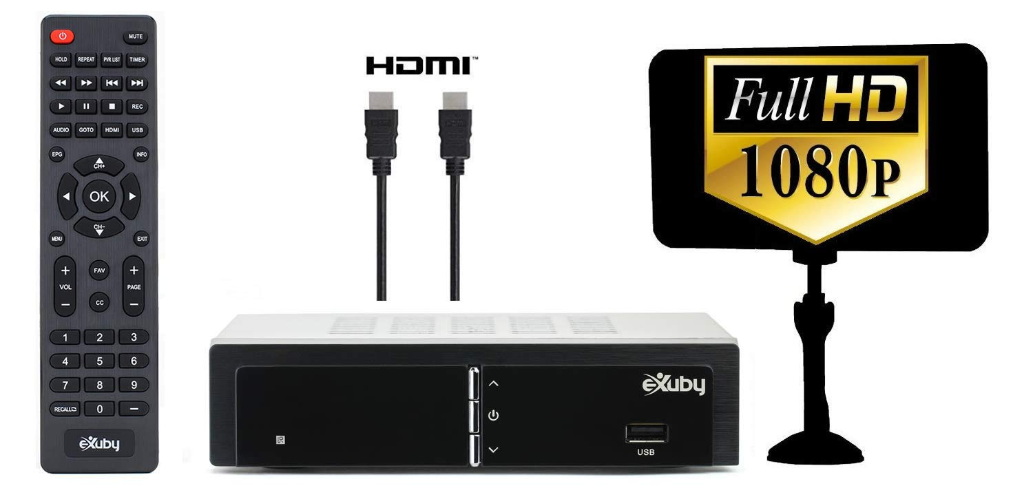 Exuby Digital Converter Box for TV w/ Antenna and HDMI Cable for Recording and Viewing Full HD Digital Channels (Instant or Scheduled Recording, 1080P HDTV, HDMI Output, 7 Day Program Guide) by eXuby