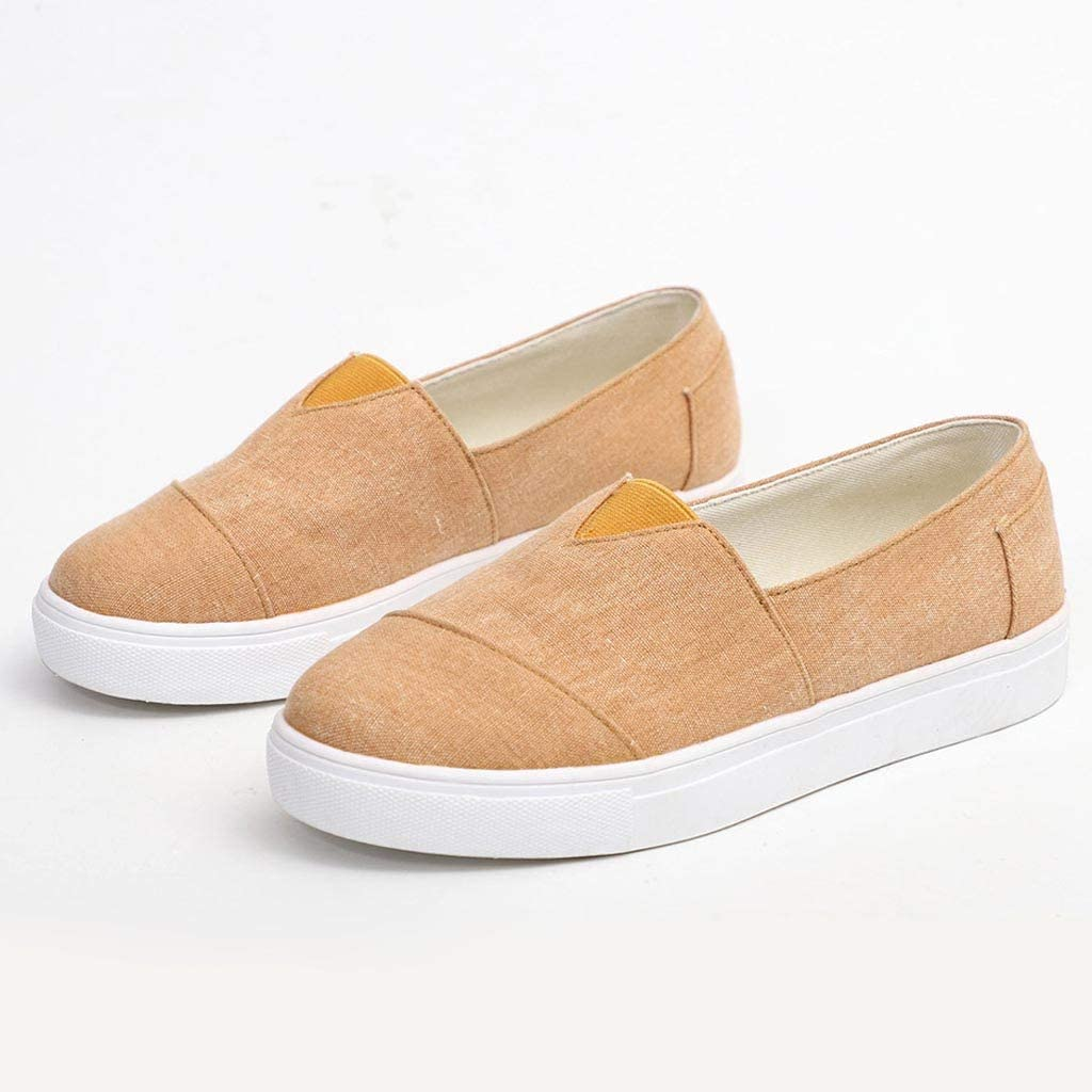 Padaleks Womens Casual Sneakers Slip On Pumps Loafers Canvas Flat Walking Shoes Beach Casual Single Shoe