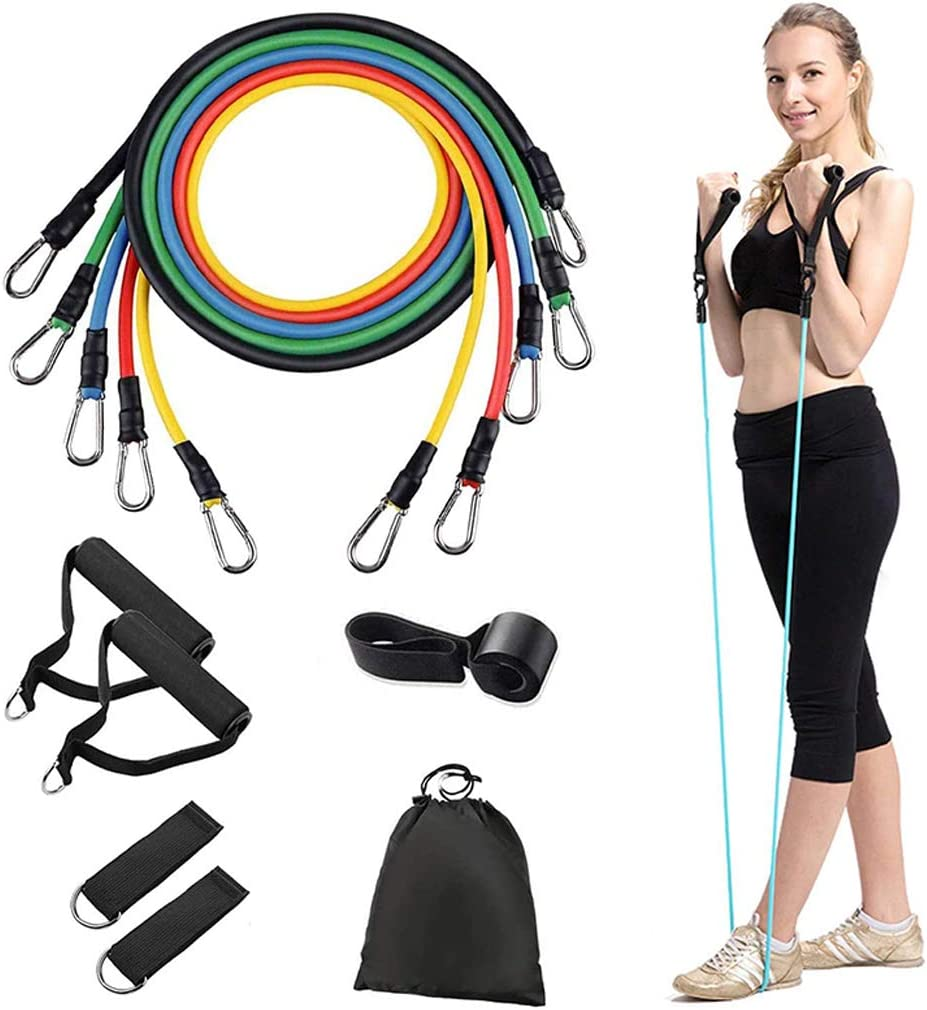 Ankle Straps Waterproof Carry Bag and Exercise Guide for Women Men,Suitable for Physical Therapy Pilates Home Workout Yoga RitFit 11 Pcs Resistance Band Set,5 Workout Tubes Bands with Door Anchor