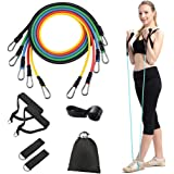 Iconites Resistance Bands Set 11pcs Exercises Elastic Latex Rubber Expander 100 Lbs Home Gym Yoga Tubes Pull Rope Body…