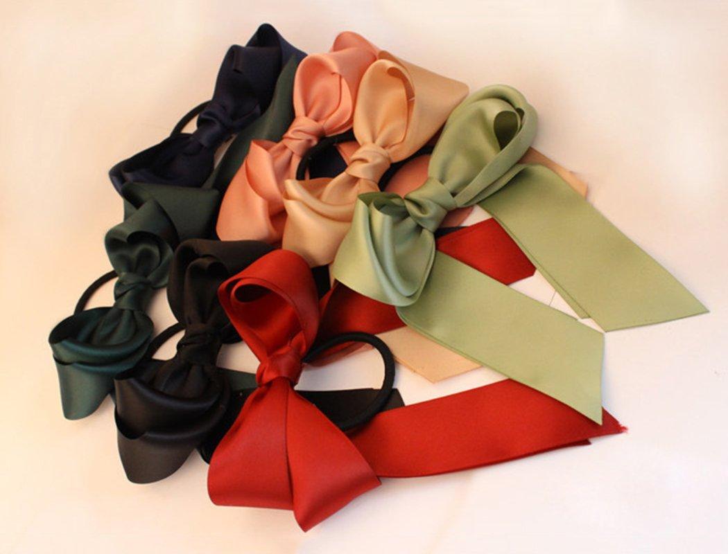 Fascigirl 6 Pezzi Cravatta a Fiocco Cravatta per Capelli Nastro a Doppio Strato Titolare Ponytail per Ragazza