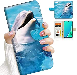 for iPhone SE 2 2020, iPhone SE 2nd Generation 2020, fits iPhone 8 7 6, Designed Flip Wallet Phone Case Cover, A8204 Blue Sea Dolphin 8204