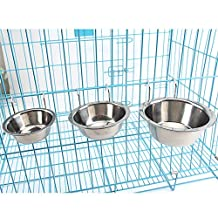 Stainless Steel Pet Bowl Hanging Food Water Bowls w/ Hook for Pets Dogs Cats in Crate Cage