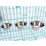 Stainless Steel Dog Hanging Bowl Food Water Bowls with Hook for Dogs Cats Rabbits Bunny in Crate Cage Kennel,Set of 2(Free Gift 1xPet Glove Finger Brush Included) (L)