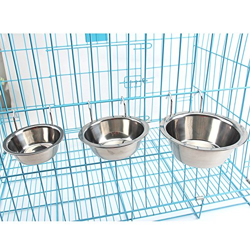[Stainless Steel Dog Hanging Bowl Food Water Bowls with Hook for Dogs Cats Rabbits Bunny in Crate Cage Kennel?] (Dog Cat Crate Cage Kennel)
