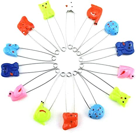 50 Assorted Color Plastic Head Baby Safety Pins Safety Locking Baby Cloth Diaper