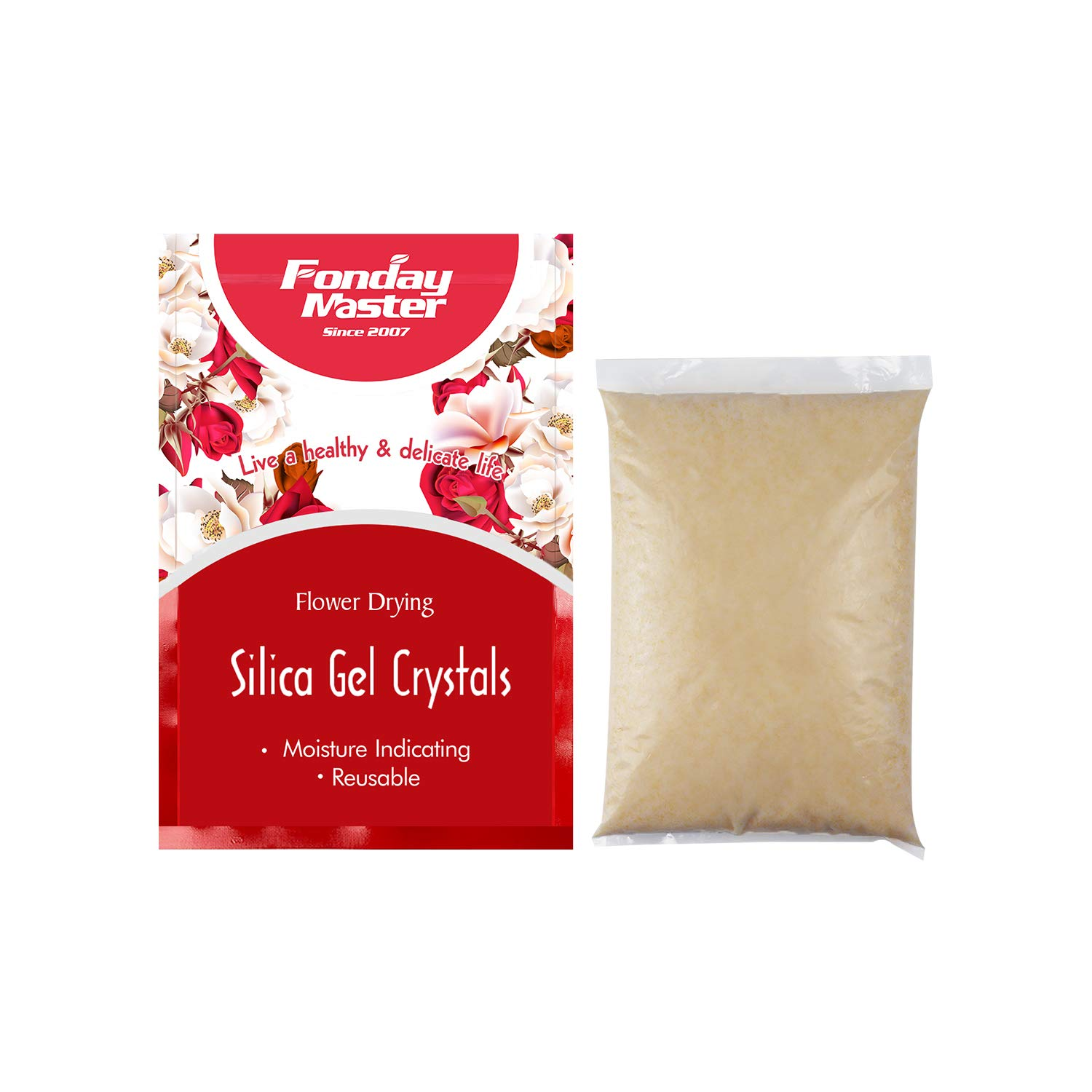 Fonday Silica Gel Flower Drying Crystals, Fine Crystals, Moisture Indicating, Reusable (5 LBS)