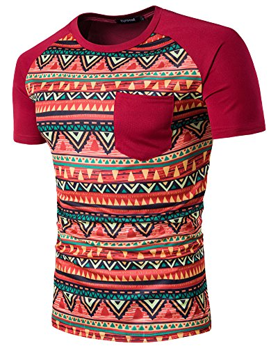 Uomo Manica Corta Print Pocket Crew Neck T-Shirt Tops Rosso M
