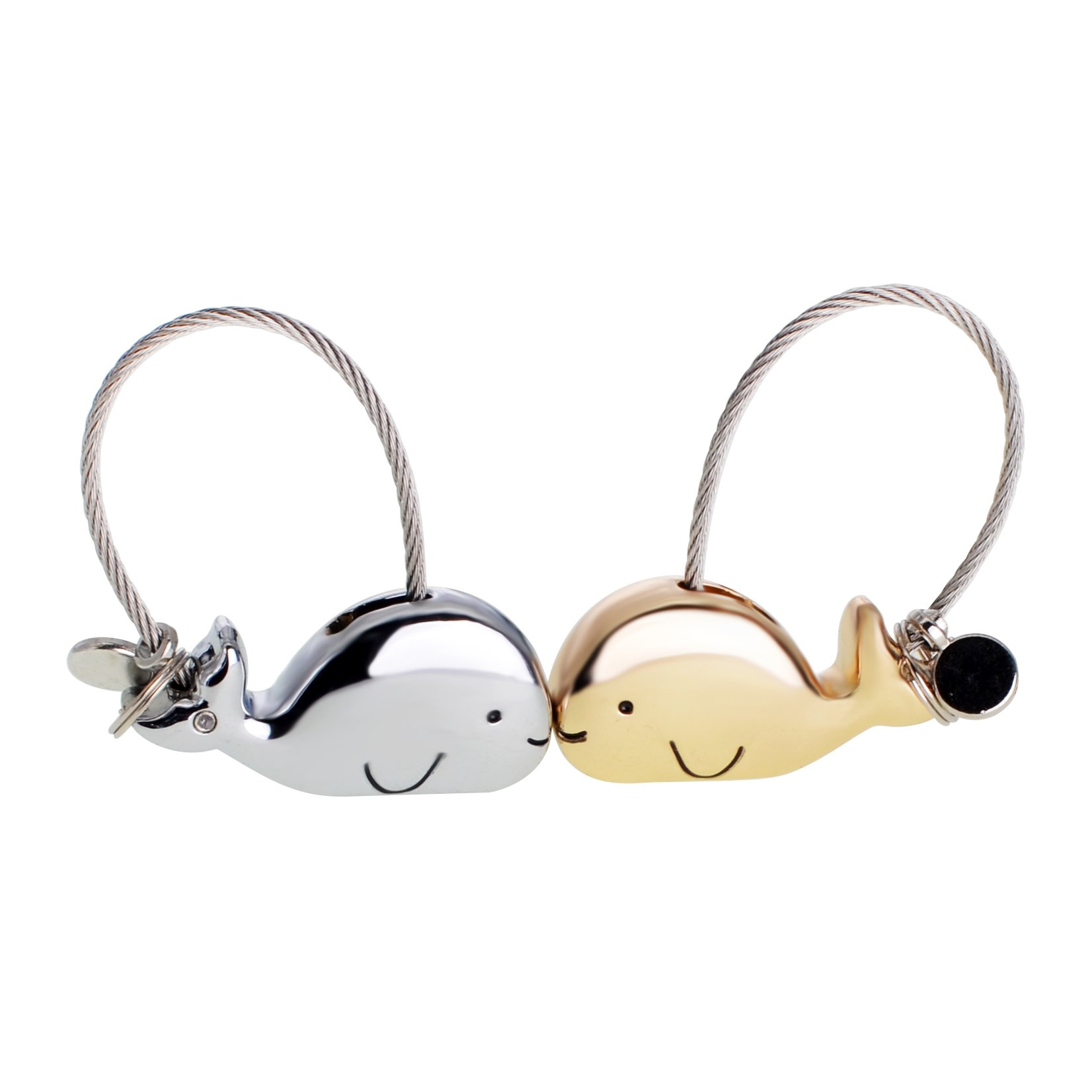 ASHMITA Cute Kiss Whale Couple Keychain for Women Charm Romantic Valentine Gift
