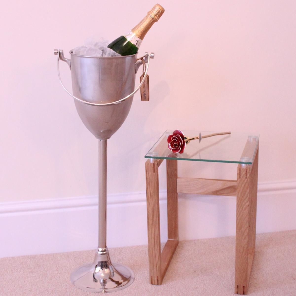 Nickel Plated Floor Standing Wine Cooler/Champagne Bucket