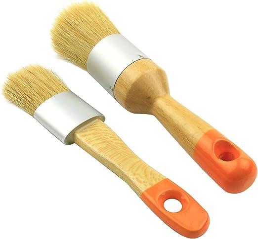 cer/ámica de acristalamiento decoraci/ón del hogar Encerado NANAD Show Juego de 3 brochas de Cera para Pintura de Tiza Pinceles Redondos de cerdas Naturales para Muebles 3 Unidades
