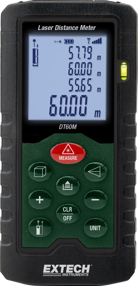 Extech DT60M Laser Distance Meter, Measurements up to 196 feet, Backlit Lcd Display, Integrated Pythagorean Theorem, 20 Point Memory, Stakeout Function, Handy Built-in Bubble Level
