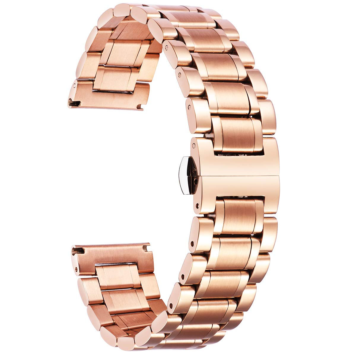 BINLUN Stainless Steel Watch Bands Replacement with Straight & Curved End Quick Release 6 Colors(Gold Sliver Black Rose Gold Gold-Silver Two Tone Silver-Rose Gold) 9 Sizes(12mm-24mm)