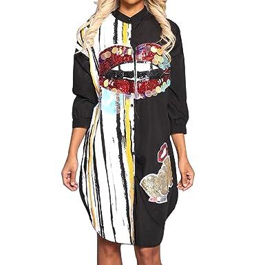 Morye Women s Sexy Floral Print Sequin Button Shirt Dress Long Sleeve Long  Blouse Tops Black S 8d6c270a5