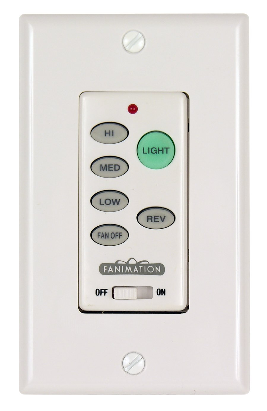 Fanimation C21 Wall Control Fan and Light 3-Speed/Reversing, White, See Image