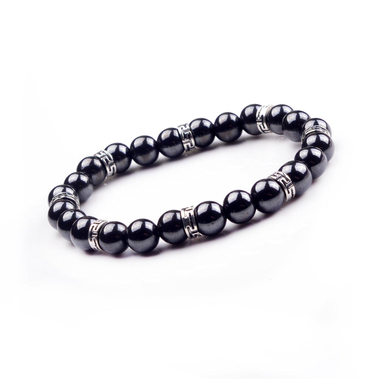 JOYA GIFT Gemstone Crystal Bracelet with Alloy pieces 8mm Beads Fashion Bracelet 04SB1148-8MM-CA