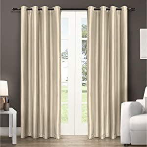 Exclusive Home Curtains Chatra Faux Silk Window Curtain Panel Pair with Grommet Top, 54x108, Bone, 2 Count