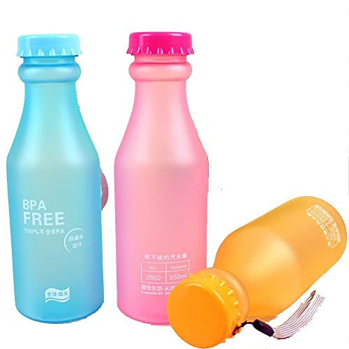 Haosen 3 piezas BPA free color caramelo plástica de fregar las tazas deportivas portátiles botellas de
