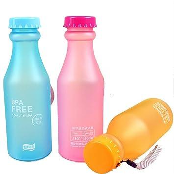 Haosen 3 piezas BPA free color caramelo plástica de fregar las tazas deportivas portátiles botellas de agua 550 ml (Azul): Amazon.es: Deportes y aire libre