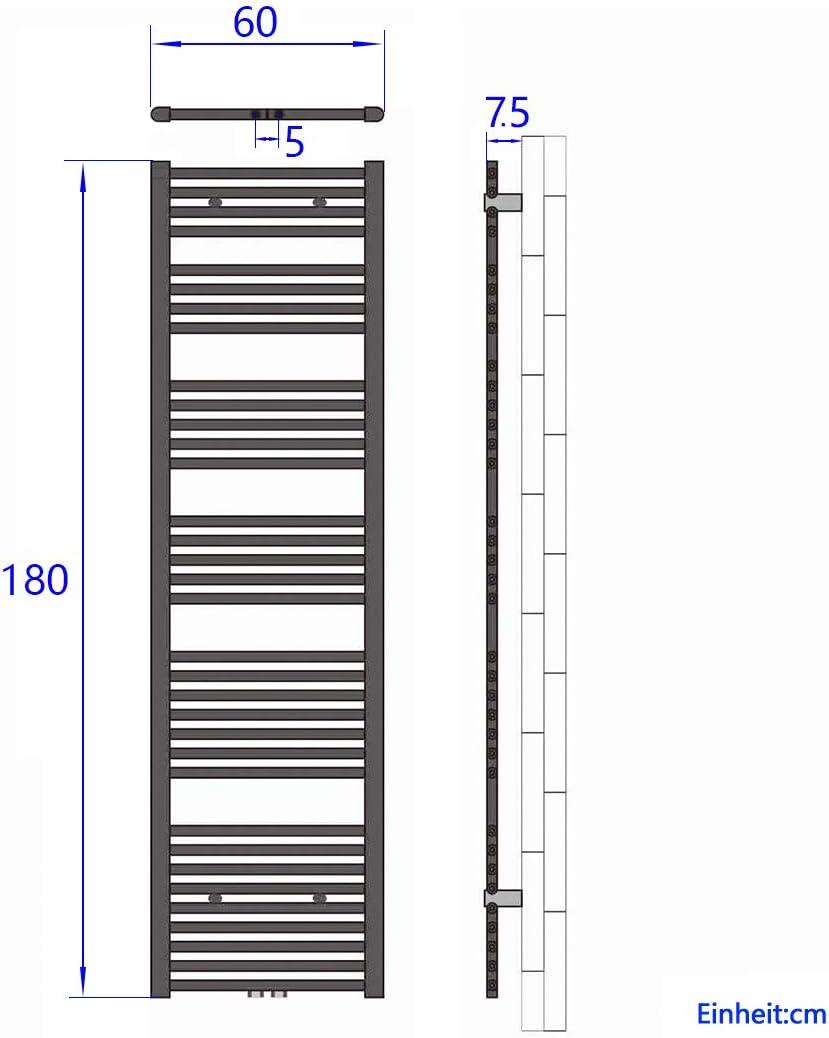 WELMAX Handtuchtrockner 160 x 50 cm Heizk/örper 851 Watt Leistung Antrazit Bad-Heizk/örper Bad Mittelanschluss Heizung Handtuchheizk/örper